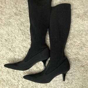 Cole Haan Knee High Black Gray Stretch Boots